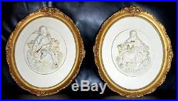 Vintage Pair Of Alexander Backer 15 X 12 Colonial Man And Woman Wall Plaques