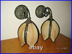 Vintage Pair Of Tulip Slag Glass Wall Sconce Lights 12 Brass Bronze Metal Light