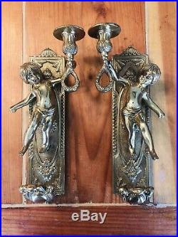 Vintage Pair Wall Mount Solid Brass Cherub Candle Holder Wall Sconces