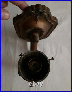 Vintage Pair Wall Sconces Electric Candle Lights Heavy Brass Art Deco