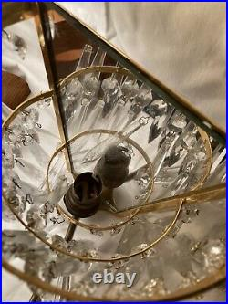 Vintage Pair of Brass Glass Crystal Wall Lights Sconce With Mirror Backs