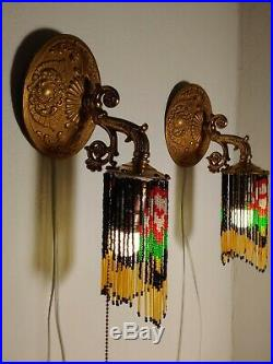 Vintage Pair of Brass Wall Sconces Beaded Fringe Unique Lights Rewired