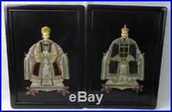 Vintage Pair of Chinese Oriental Wall Plaques Carved Soapstone & Hand Painted