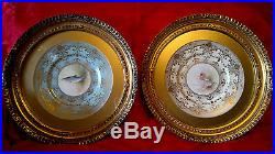 Vintage Pair of Gilt Framed Hand Painted Trout & Duck Plates Wall Plaques 17Dia