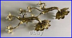 Vintage Pair of Italian Brass Flower Wall Light Sconces