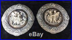 Vintage Pair of Large Coralay Classics Incolay Stone Puck Wall Plaques