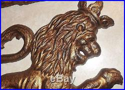 Vintage Pair of Lion with Crown Heavy Metal Wall Hanging Plaques 13.5 x 19