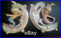 Vintage Pair of Mermaids Riding the Waves 2 Wall Plaques Norcrest