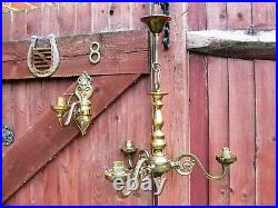 Vintage Pair of Solid Brass Chandelier Ceiling Light with 3 Wall Light England