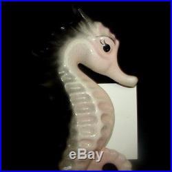 Vintage Pale Pink, Gray & Black Seahorse Wall Pocket Plaque for Mermaid Bath