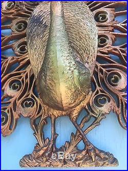 Vintage Peacock Decor Large Burwood Plastic Wall Plaque Hanging Wall Art