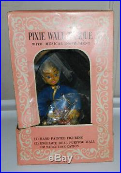 Vintage Pixie Wall Plaque With Musical Instrument By Dee Bee Co. In Box HTF