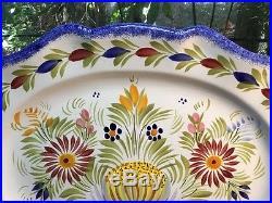 Vintage QUIMPER Large Scalloped Wall Plaque / Platter 17.75 long