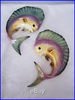 Vintage RARE Freeman McFarlin ceramic mahi mahi dolphin wall plaques
