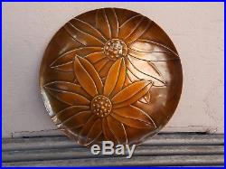 Vintage REBAJES Copper SUNFLOWERS TRAY Wall Art Plaque 13.75