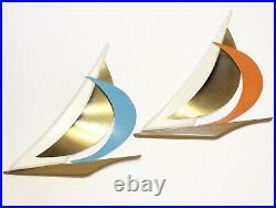 Vintage ROMM Mid Century Modern Sloop Sailboat Wall Hangings Brass Wood Art