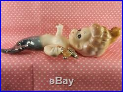 Vintage Rare Doll Like Mermaid Wall Plaque Set Holding Gold Starfish Japan