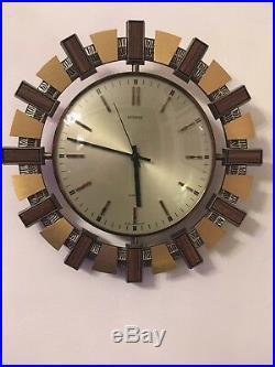 Vintage Retro 1970's Metamec Sunburst Quartz Wall Clock Mid Century Wood Brass