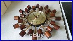 Vintage Retro Smiths Wooden Sunburst/ Starburst Brass Wall Clock Working Order