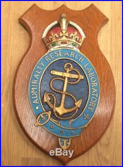 Vintage Royal Navy Wall Plaque Admiralty Research Laboratory (arl) Kings Crown