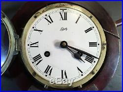 Vintage SCHATZ Ship mariner brass wall clock on wood ship wheel withkey SPAIN