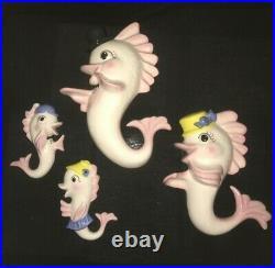 Vintage Seahorse Fish Wall Plaque Pocket Mom Dad Boy Girl For Mermaid Bath Decor