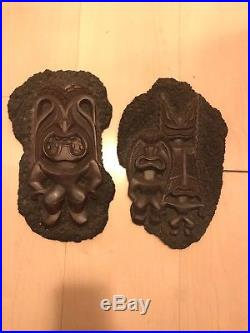Vintage Set Of 2 Coco Joes Faux Lava Wall Hanging Plaque Tiki God Mug