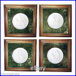 Vintage Set of 4 Royal Copenhagen Wall Plaques Four Seasons Mounted and Framed