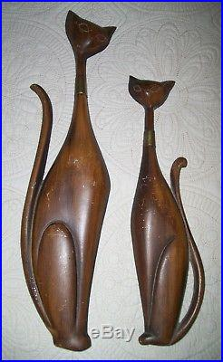 Vintage Sexton MCM Set of 2 Metal Siamese Cats Mid-Century Hipster Plaques Wall