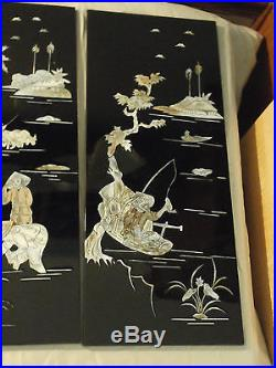 Vintage Shell MOP Inlay Asian China 4 Panel Black Lacquer Wood Wall Art Plaque