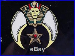 Vintage Shriners Mocha Masonic Mason Clock Wall Plaque Moon Scimitar Sword Art