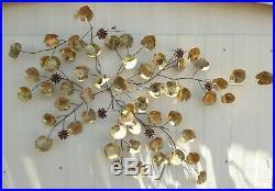 Vintage Signed Curtis Jere Leaf and Flower 1970s Wall Sculpture