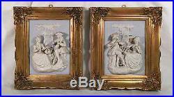 Vintage Signed DRESDEN ALT MEISSEN BISQUE Relief Figurine Wall Plaque (2 Pcs.)
