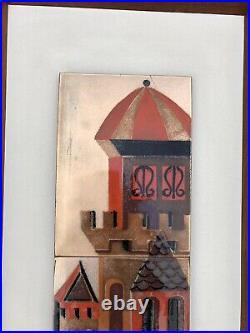 Vintage Signed JUDITH DANER Mid-Century MCM Copper & Enamel Wall Plaque