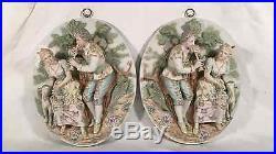 Vintage Signed MEISSEN BISQUE Relief Figurine Wall Plaque (2 Pcs.)