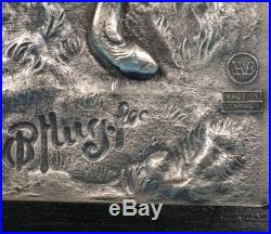 Vintage Silver Hunt Wall Plaque Bugling Stag 3D High Relief O'Pflug HB Germany