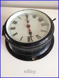 Vintage Smiths Ships Bulkhead Wall Clock, Brass and Enamel