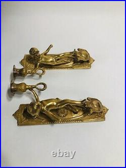 Vintage Solid Brass Cherub Candle Sticks Holders Wall Sconce Flaws