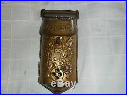 Vintage Solid Brass Standard Mailbox Wall Mount Victorian Style Natural Patina