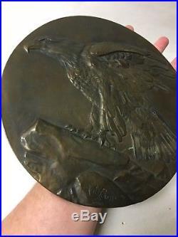 Vintage Solid Bronze Signed J. H. Bond Wall Plaque Eagle Numbered Scarce