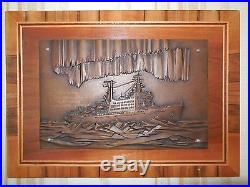 Vintage Soviet Russian Copper Relief Wall Plaque of Nuclear-powered Icebreaker
