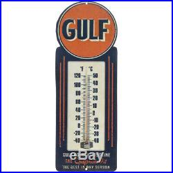 Vintage Style Gulf Thermometer Metal Wall Sign Gas & Oil Shop Man Cave Plaque