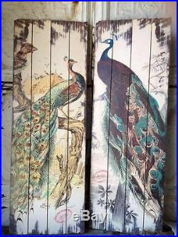 Vintage Style Peacock Plank Wood Distressed Wall Plaques Set/2