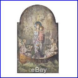 Vintage Style Wood Wall Art Virgin Mary & Angels Cherubs Arched Plaque, 39''H