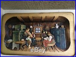 Vintage Super Rare! German Hand Carved Wood Wall Plaque Huge! 3D Carving