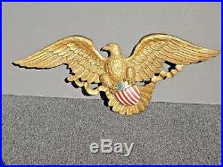 Vintage Syroco Federal Style Gold Painted Eagle Patriotic Wall Plaque 3768