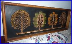 Vintage Syroco Mid Century Four Seasons Of Trees wall plaque MCM