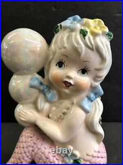 Vintage Tilso Mermaid Girl With Bubbles And Flowers Pink Opalescent Wall Plaque