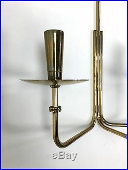 Vintage Tommi Parzinger Dorlyn Brass Wall Candelabra Sconce Mid Century Modern