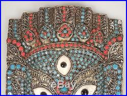 Vintage Turquoise Coral & Brass GANESH Face Plaque Wall Hanging -Nepal/Tibet